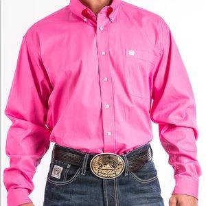 Men solid Pink Cintch collared western dress shirt
